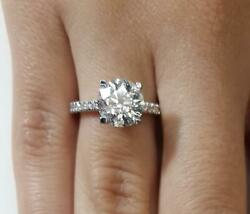 3.05 Ct Pave 4 Prong Round Cut Diamond Engagement Ring Si2 D White Gold 18k