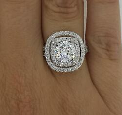 3 Ct Double Halo Pave Round Cut Diamond Engagement Ring Si1 F White Gold 14k