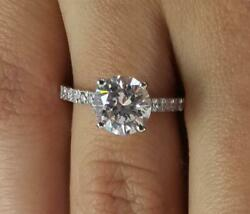 2 Ct Cathedral 4 Prong Round Cut Diamond Engagement Ring Si2 H White Gold 18k