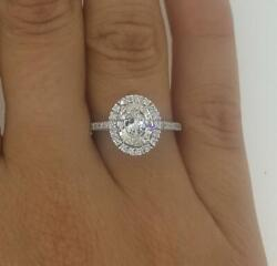 1.9 Ct Pave Cathedral Oval Cut Diamond Engagement Ring Si1 F White Gold 14k