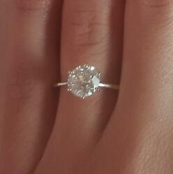 1.5 Ct Classic 6 Prong Round Cut Diamond Engagement Ring Si2 G Certified 14k