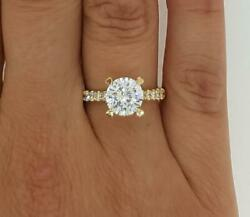 3 Ct Pave 4 Prong Round Cut Diamond Engagement Ring Si2 D Yellow Gold 18k