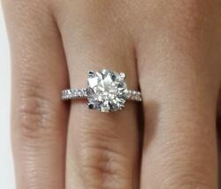 2.05 Ct Pave 4 Prong Round Cut Diamond Engagement Ring Si2 F White Gold 14k