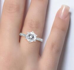 2.05 Ct Pave 6 Prong Round Cut Diamond Engagement Ring Si1 D White Gold 14k