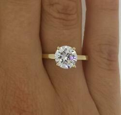 1.5 Ct Classic 4 Prong Round Cut Diamond Engagement Ring Si2 G Yellow Gold 18k