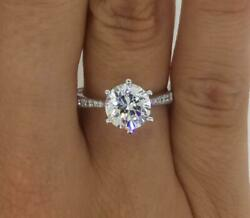 1.5 Ct Pave 6 Prong Round Cut Diamond Engagement Ring Si1 D White Gold 18k