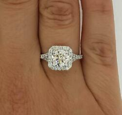1.65 Ct Cathedral Pave Round Cut Diamond Engagement Ring Si2 F White Gold 18k