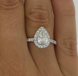 1.4 Ct Pave Halo Pear Cut Diamond Engagement Ring Vs1 F White Gold 18k