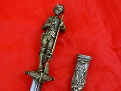 Antique Figural Romantic Dagger Knife American Indians / Pioneers / Frontiers