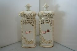 Antique Pair Of French Apothecary Jars, Painted Porcelain, Gold, Red, White 12