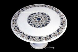 36 Marble Table Top Semi Precious Stone Floral Inlay Work With Marble Stand