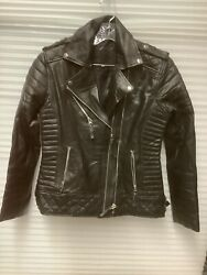 100% Real Brand New Genuine Leather Women's L Black Zip Up Motorcycle Jacket $69.99