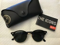 "Ray Ban ""Clubmaster"" sunglasses black with gold trim rb4246 901 58 $70.00"
