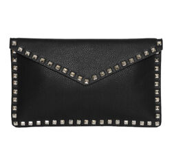 INZI ENVELOPE CLUTCH BLACK WITH SILVER STUDS NWT $50.00