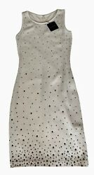 St John Evening White amp; Gunmetal Rhinestones Dress New Size 0 $1130.00
