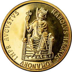 [902736] Coin Belgium Charlemagne 50 Ecu 1989 Ms Gold Km174