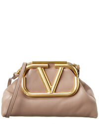 Valentino Supervee Leather Clutch Women#x27;s Brown $2169.99