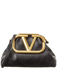 Valentino Supervee Leather Clutch Women#x27;s Black $2189.99