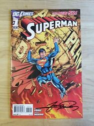 Superman 1 Signed By George Perez Nm+/nm New 52 2nd Print Variant