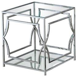 Best Master Abigail Glass And Stainless Steel Base End Table In Silver
