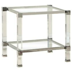 Best Master Monroe Clear Glass With Acrylic Legs End Table In Silver Base