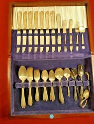 Vintage 1940 Milady Silverplate Flatware Set 62 Pieces Wood Chest By Community