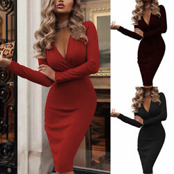 Women V Neck Long Sleeve Bodycon Sexy Dress Ladies Casual Evening Party Clubwear $13.99