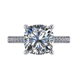 3.2 Ct Real Moissanite Rings Solid 14k White Gold Engagement Ring Set Size 6.25