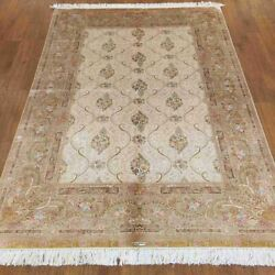 Yilong 4.5and039x6.5and039 Handknotted Silk Area Rug Living Room Beige Carpet Zz143a