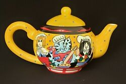 Catzilla Teapot With Lid Large Chef Cats Candace Reiter 2002 Cat Lovers