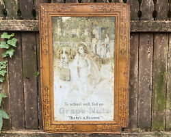 Antique Grape Nuts Sign Tin Advertising General Store Vintage Dog Grocery Shop