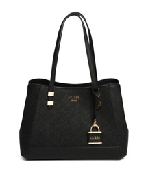 GUESS BEHATI LOGO BLACK SATCHEL $57.99