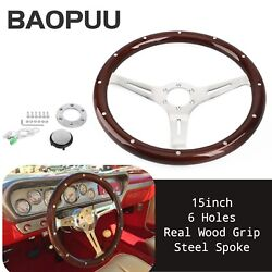 15and039and039 380mm Dark Steering Wheel Real Wood Grip With Rivet 3 Chrome Spoke 6 Hole