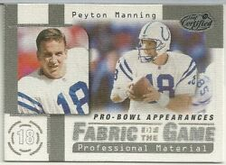 Peyton Manning 1999 Leaf Certified Fabric Of The Game Fg22 /1000