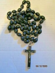 Vtg Antique Italy Metal Mary Medal Beaded Rosary Beads Crucifix Inri Wood Cross