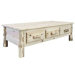 Rustic Coffee Table Log Low Table 6 Drawers Amish Made Montana Lodge Furniture