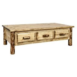 Rustic Log Coffee Table With 6 Drawers Amish Made Lodge Cabin Furniture
