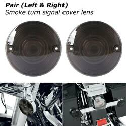 2x Smoked Lens Turn Signal Light Flat Lens Covers For Harley Touring Motorcycle