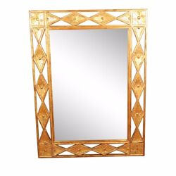 Harrison And Gil Dauphine Large Gold Gilt Beveled Wall Mirror