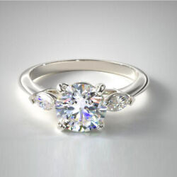950 Platinum Round 0.70 Carat Real Diamond Engagement Rings For Her Size 5 6 7 8