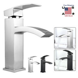 Brushed Nickel Bathroom Sink Faucet Mixer Tap Waterfall Spout Single Basin Lever