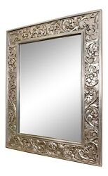 Large Finely Carved Silver Gilt Beveled Wall Mirrorandnbsp