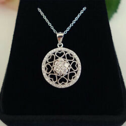 0.50 Ct Diamond Pendants 14 K Solid White Gold Wedding Pendant For Womenand039s