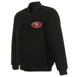 Nfl San Francisco 49ers Jh Design Wool Reversible Jacket With 2 Front Logos