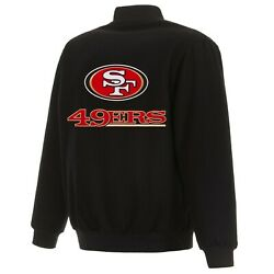 Nfl San Francisco 49ers Jh Design Wool Reversible Jacket With Embroidered Logos