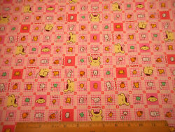 Vintage Fabric By Half Yard Pompompurin amp; Characters Pink Cotton Sanrio 1999
