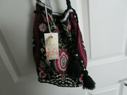 NEW Johnny Was Hulda Black Multi Bucket Bag Embroidered Drawstring Purse NWT $110.00