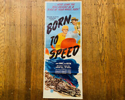 Vintage Movie Poster Original 1947 Born To Speed Poster Hot Rod Race Car Club