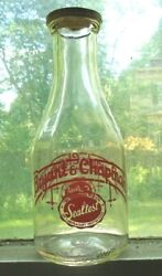Old 1 Qt Clear Glass Red Painted Bottle Bryant And Chapman Sealtest Milk