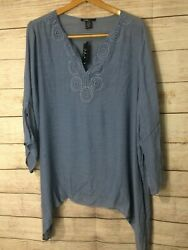 NWT ROBERT LOUIS Women's Plus Sz 3X Light Weight Flare Style Tunic Top chambray $16.99